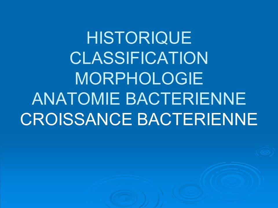 HISTORIQUE CLASSIFICATION MORPHOLOGIE ANATOMIE BACTERIENNE CROISSANCE BACTERIENNE
