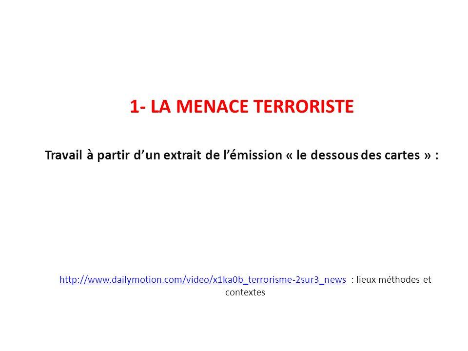 1- LA MENACE TERRORISTE Travail à partir d'un extrait de l'émission « le dessous des cartes » :