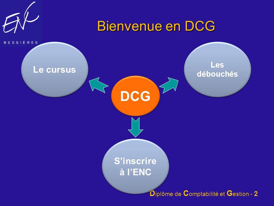 Bienvenue en DCG Le cursus Les débouchés DCG S'inscrire à l'ENC