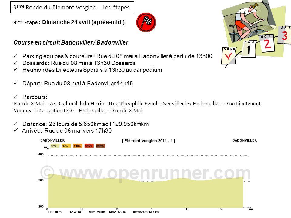 9ème Ronde du Piémont Vosgien – Les étapes