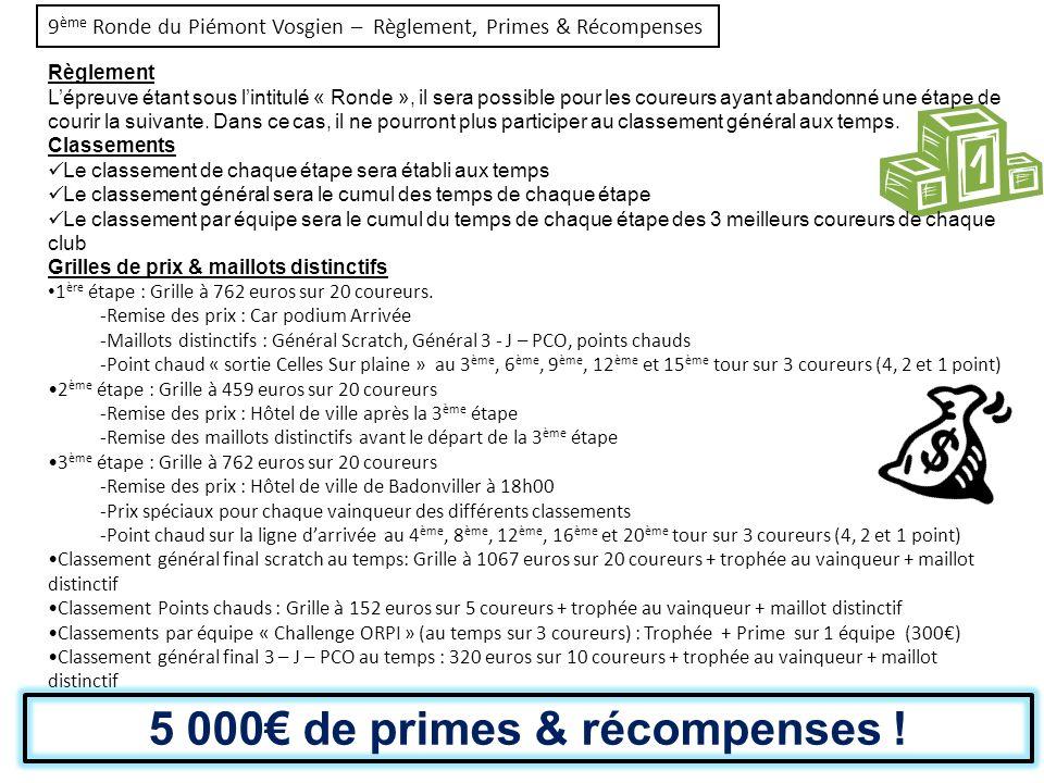 9ème Ronde du Piémont Vosgien – Règlement, Primes & Récompenses