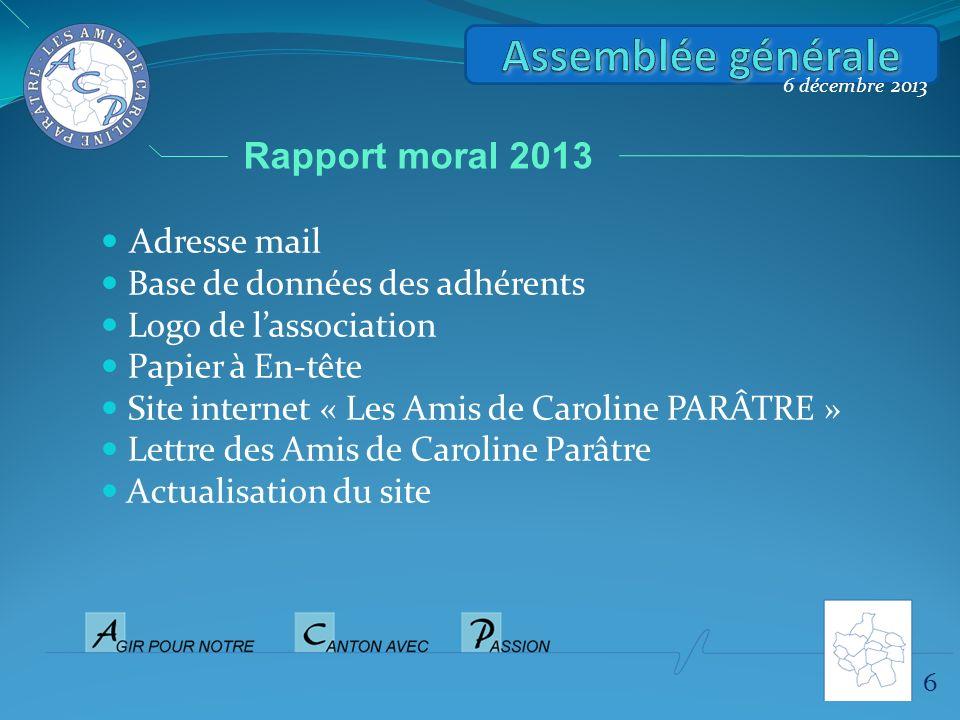 Assemblée générale Rapport moral 2013 Adresse mail