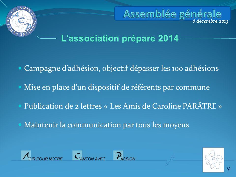 Assemblée générale L'association prépare 2014