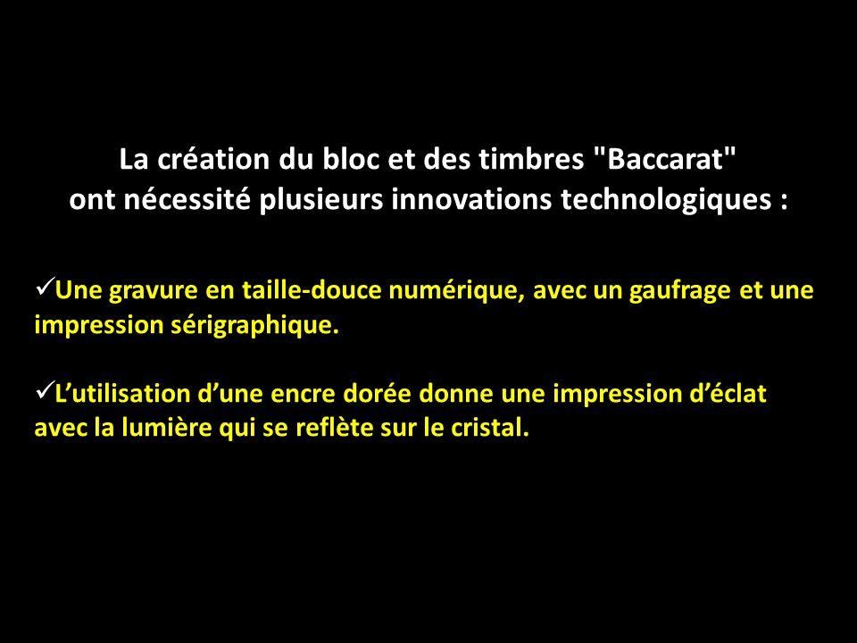 La création du bloc et des timbres Baccarat