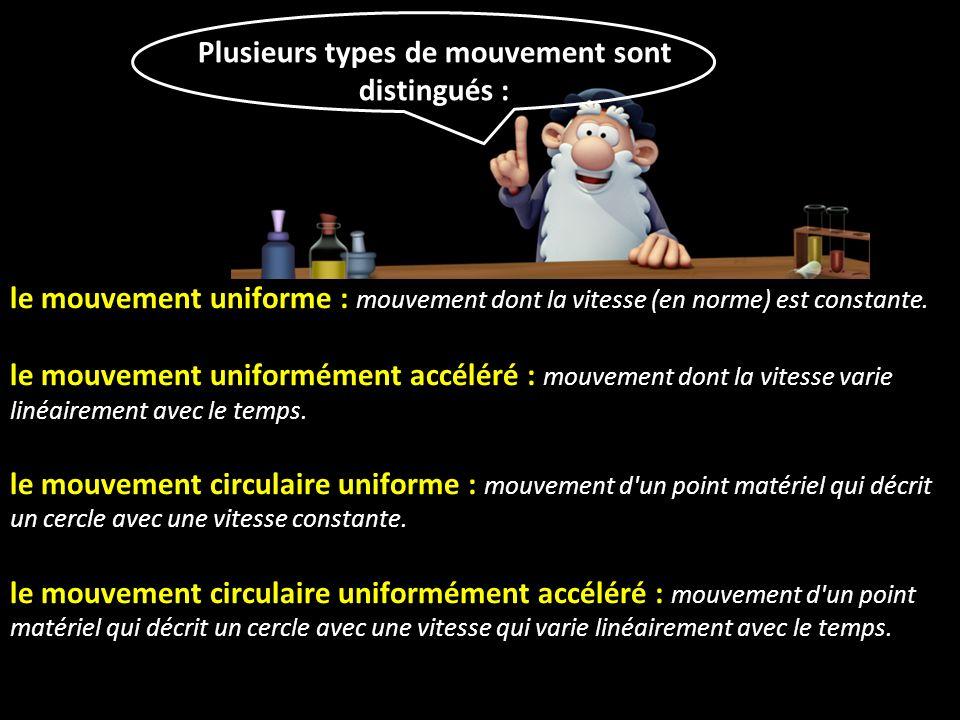 Plusieurs types de mouvement sont distingués :
