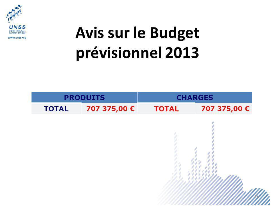 Avis sur le Budget prévisionnel 2013