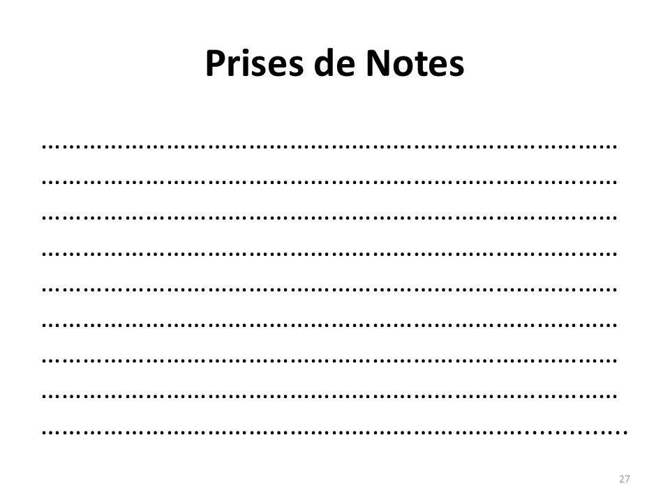 Prises de Notes