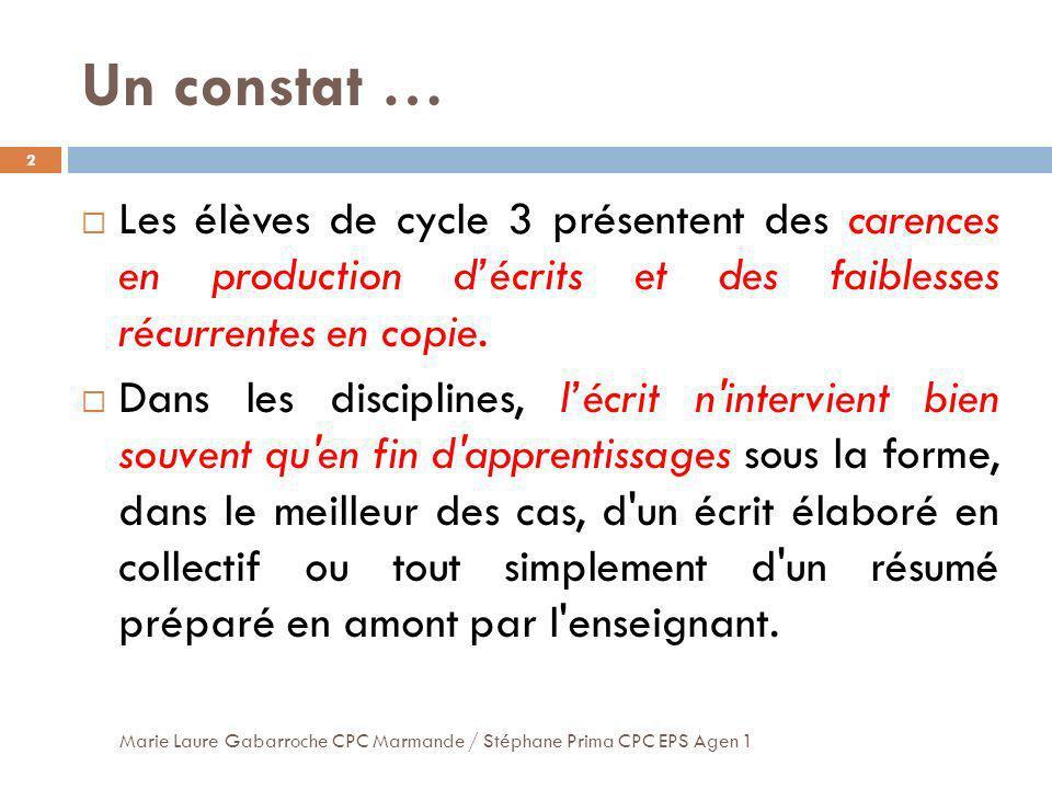 Un constat … Les élèves de cycle 3 présentent des carences en production d'écrits et des faiblesses récurrentes en copie.