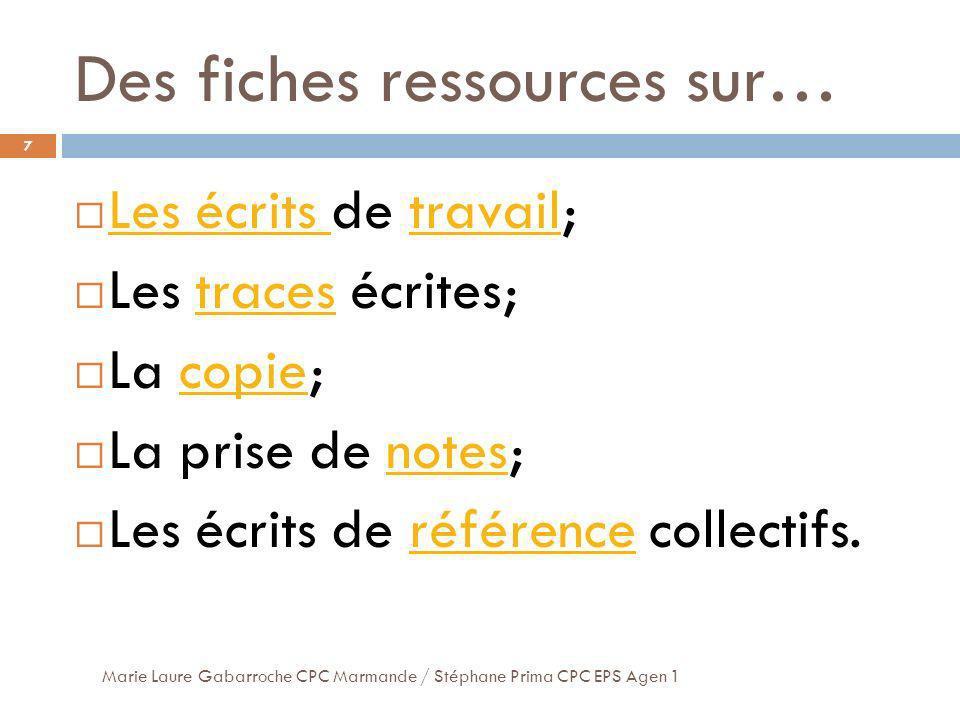 Des fiches ressources sur…