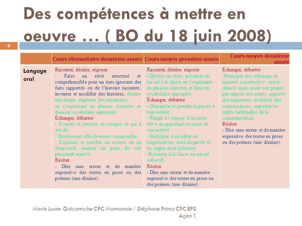 Des compétences à mettre en oeuvre … ( BO du 18 juin 2008)
