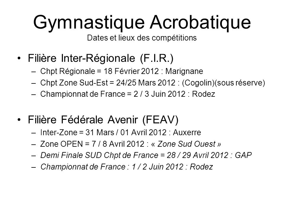 Gymnastique Acrobatique Dates et lieux des compétitions