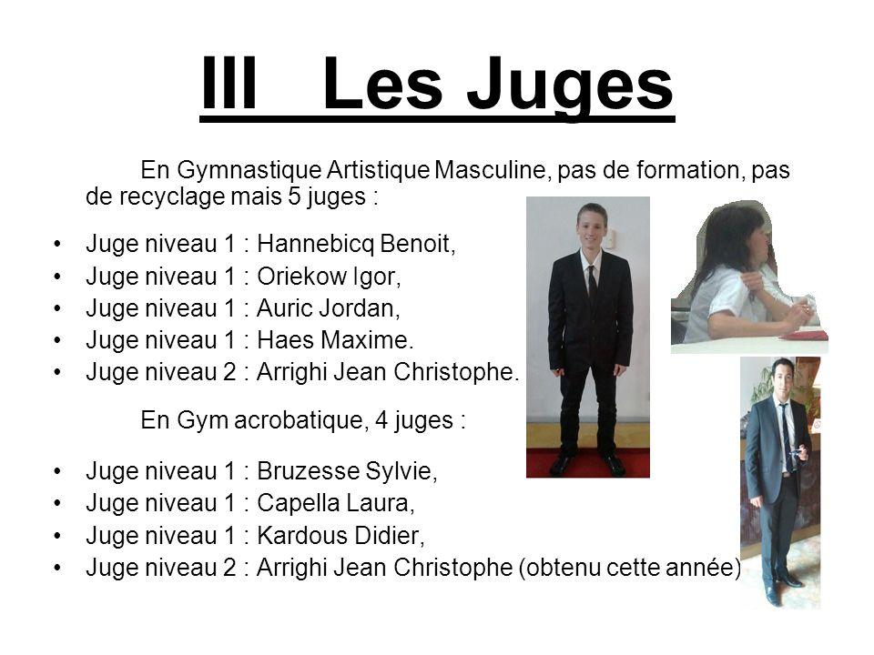 III Les Juges En Gymnastique Artistique Masculine, pas de formation, pas de recyclage mais 5 juges :