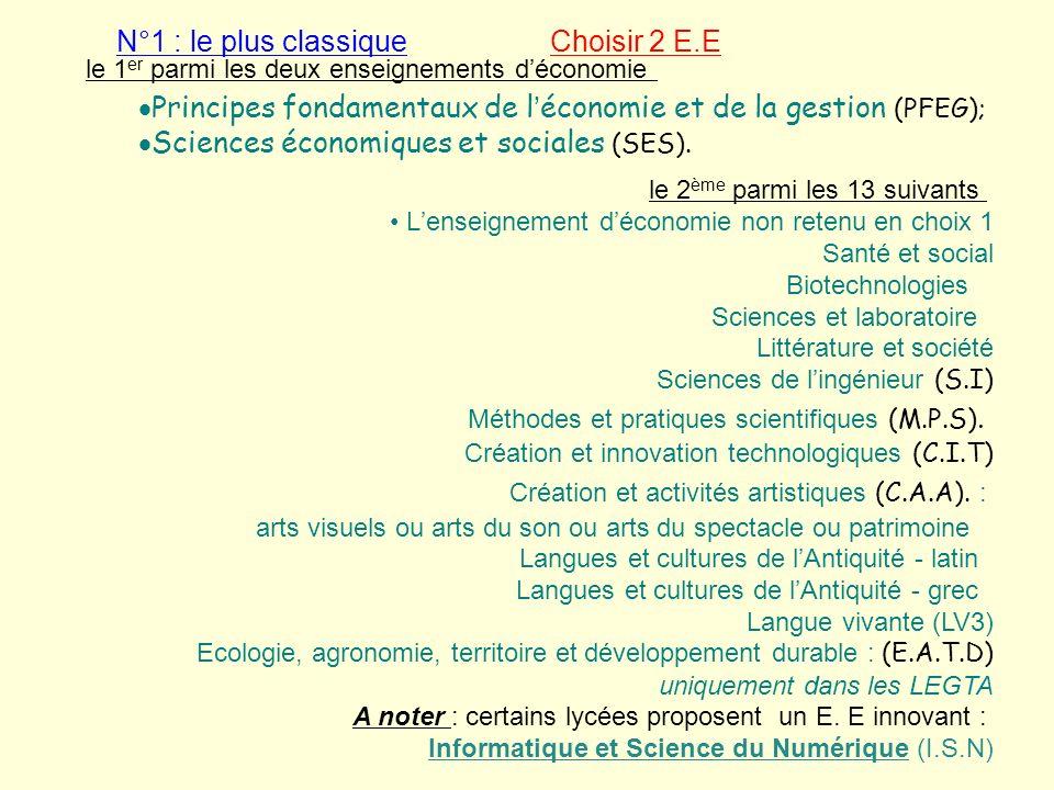 N°1 : le plus classique Choisir 2 E.E