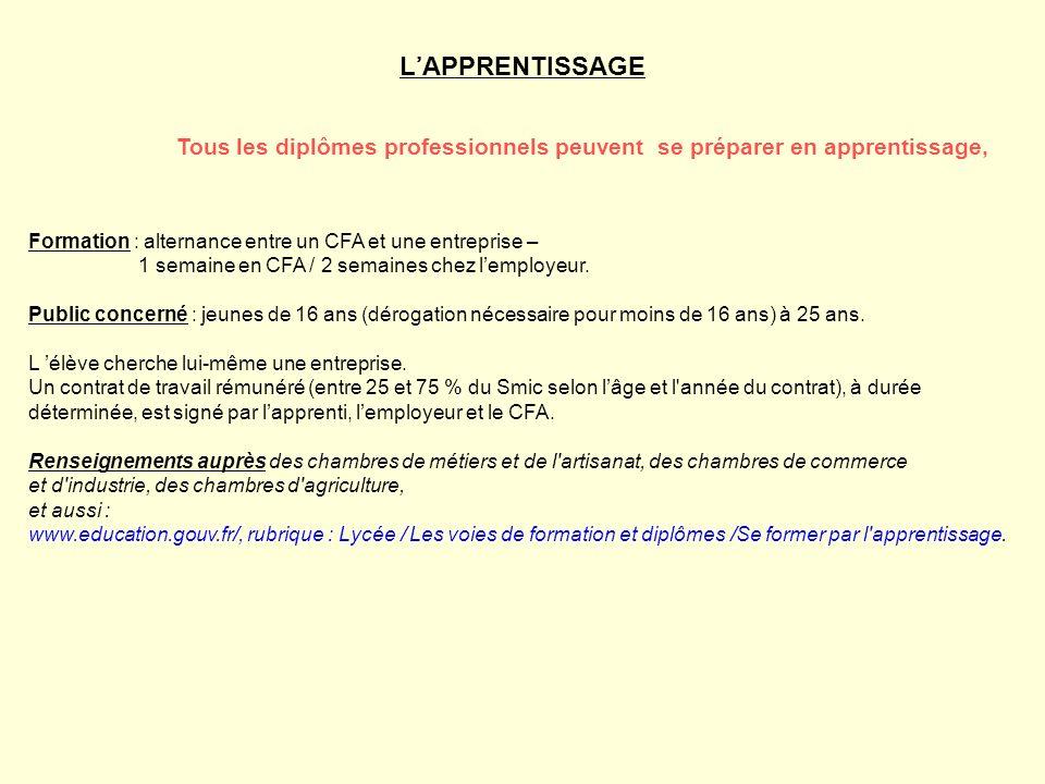 L'APPRENTISSAGE Tous les diplômes professionnels peuvent se préparer en apprentissage, Formation : alternance entre un CFA et une entreprise –