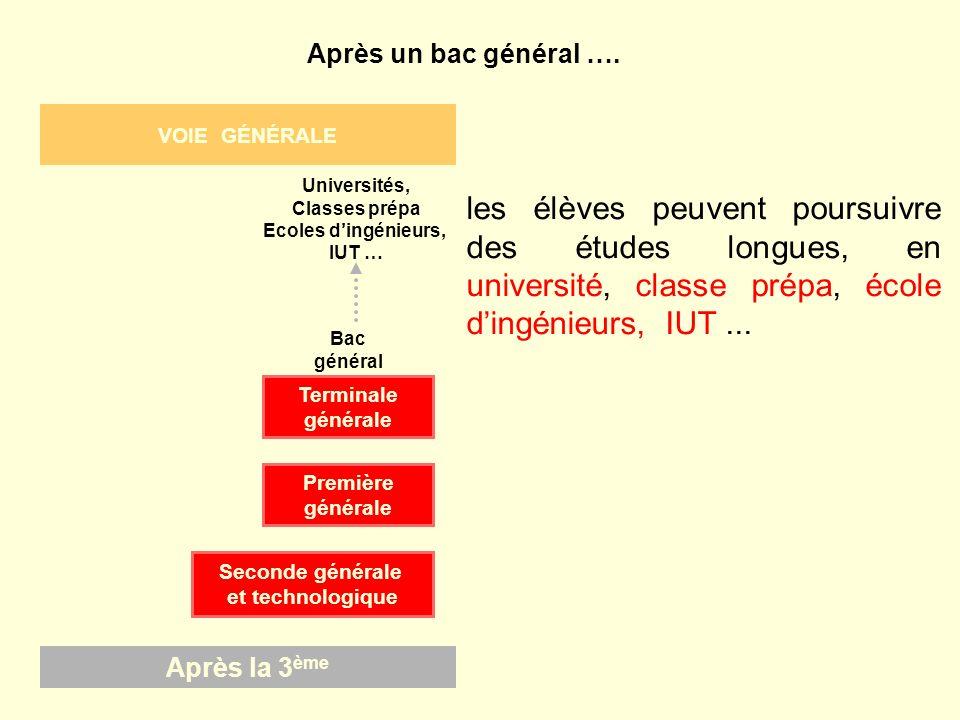 VOIE GÉNÉRALE Après la 3ème. Seconde générale. et technologique. Terminale. générale. Première.