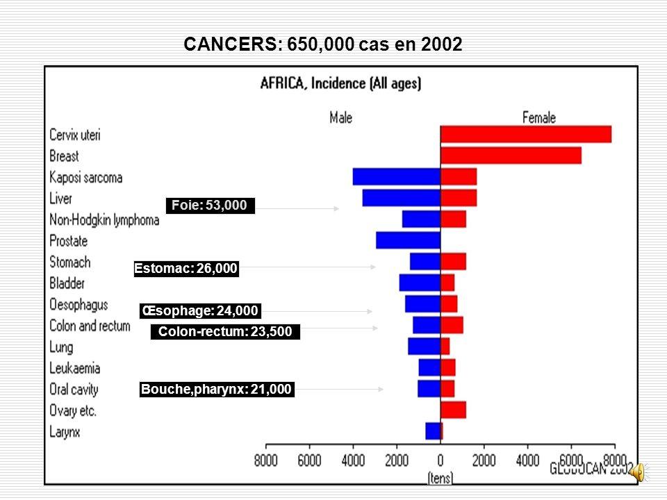 CANCERS: 650,000 cas en 2002 Foie: 53,000 Estomac: 26,000