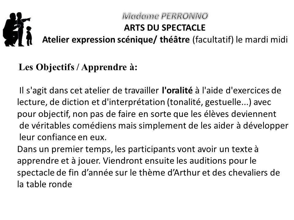 Atelier expression scénique/ théâtre (facultatif) le mardi midi