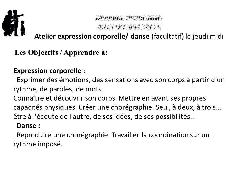 Atelier expression corporelle/ danse (facultatif) le jeudi midi