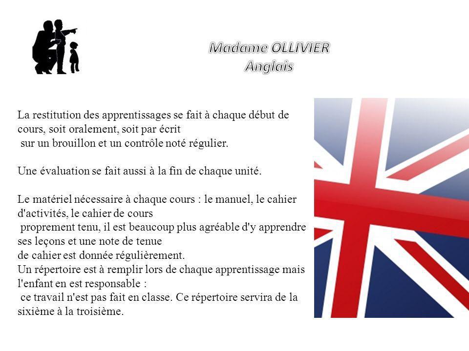 Madame OLLIVIER Anglais