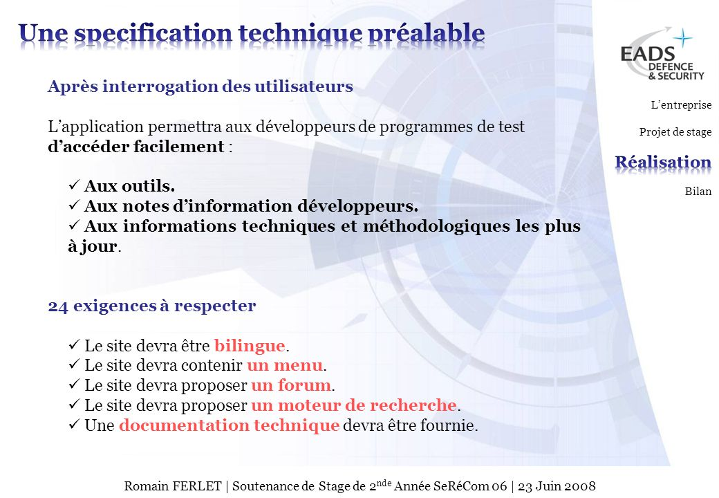 Une specification technique préalable