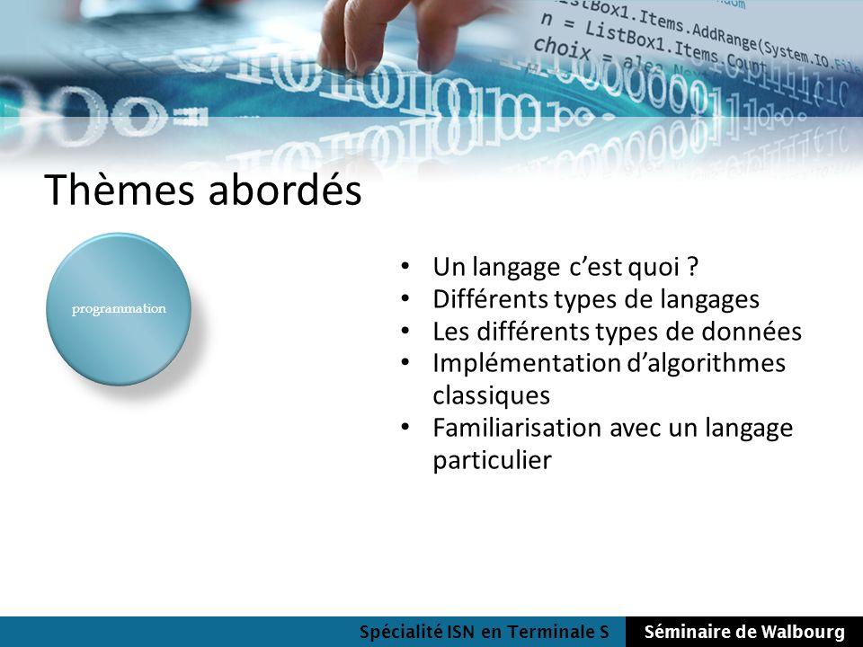 Thèmes abordés Un langage c'est quoi Différents types de langages