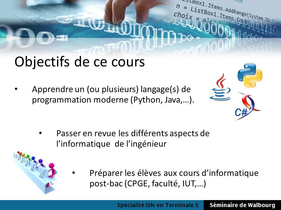 Objectifs de ce cours Apprendre un (ou plusieurs) langage(s) de programmation moderne (Python, Java,…).