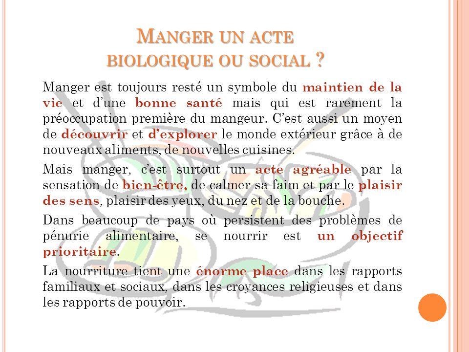 Manger un acte biologique ou social