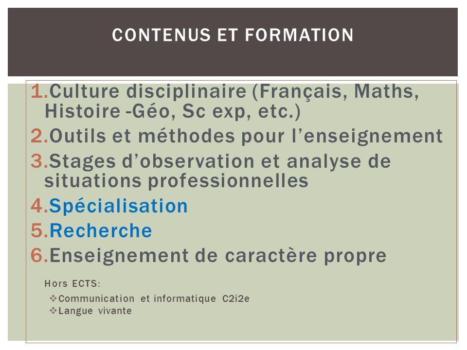 Culture disciplinaire (Français, Maths, Histoire -Géo, Sc exp, etc.)