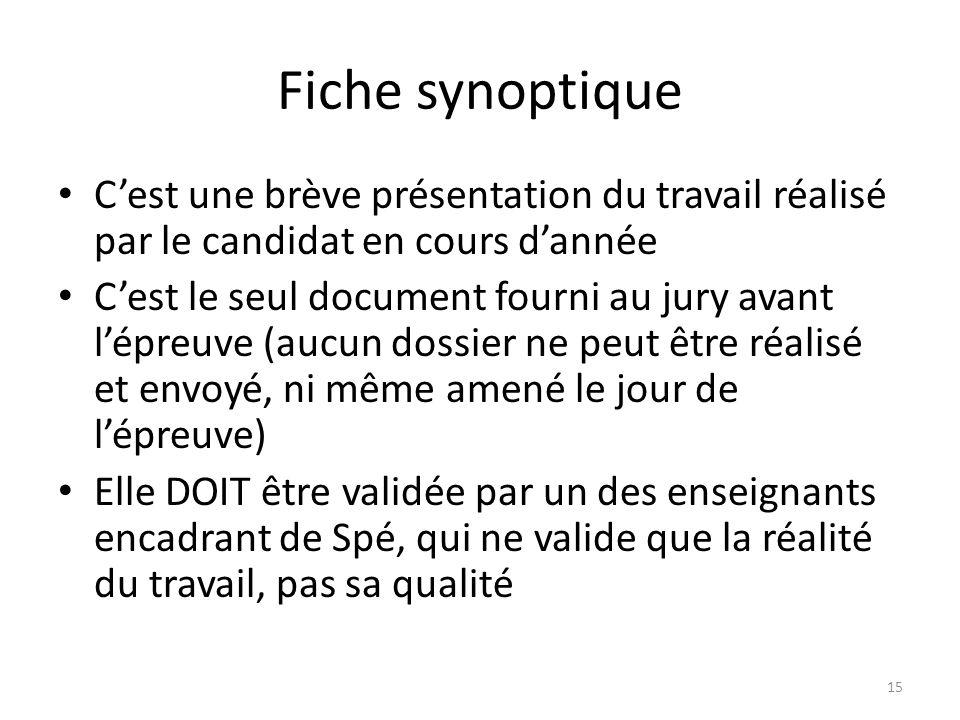 Fiche synoptique C'est une brève présentation du travail réalisé par le candidat en cours d'année.