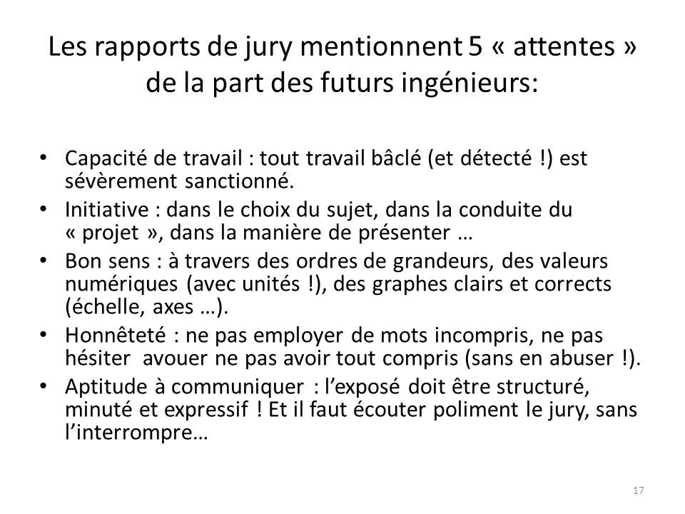 Les rapports de jury mentionnent 5 « attentes » de la part des futurs ingénieurs: