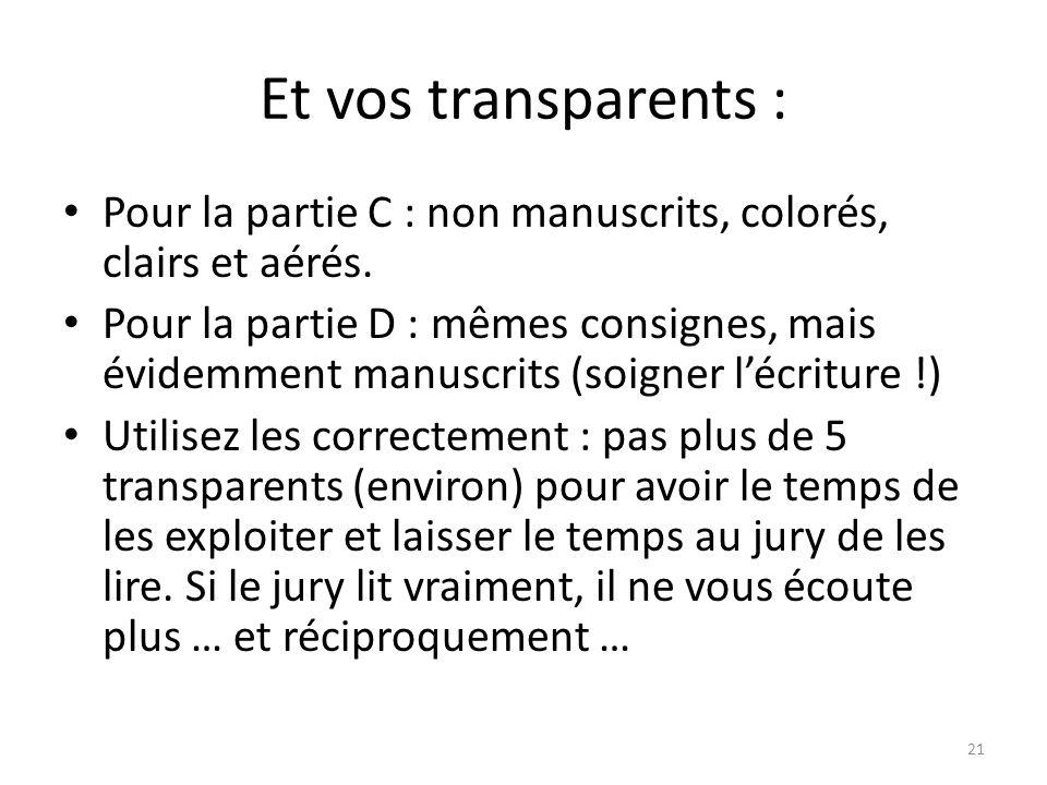 Et vos transparents : Pour la partie C : non manuscrits, colorés, clairs et aérés.