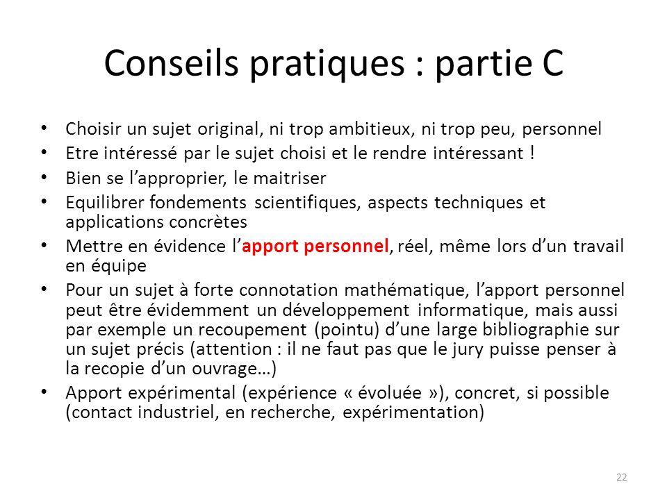 Conseils pratiques : partie C