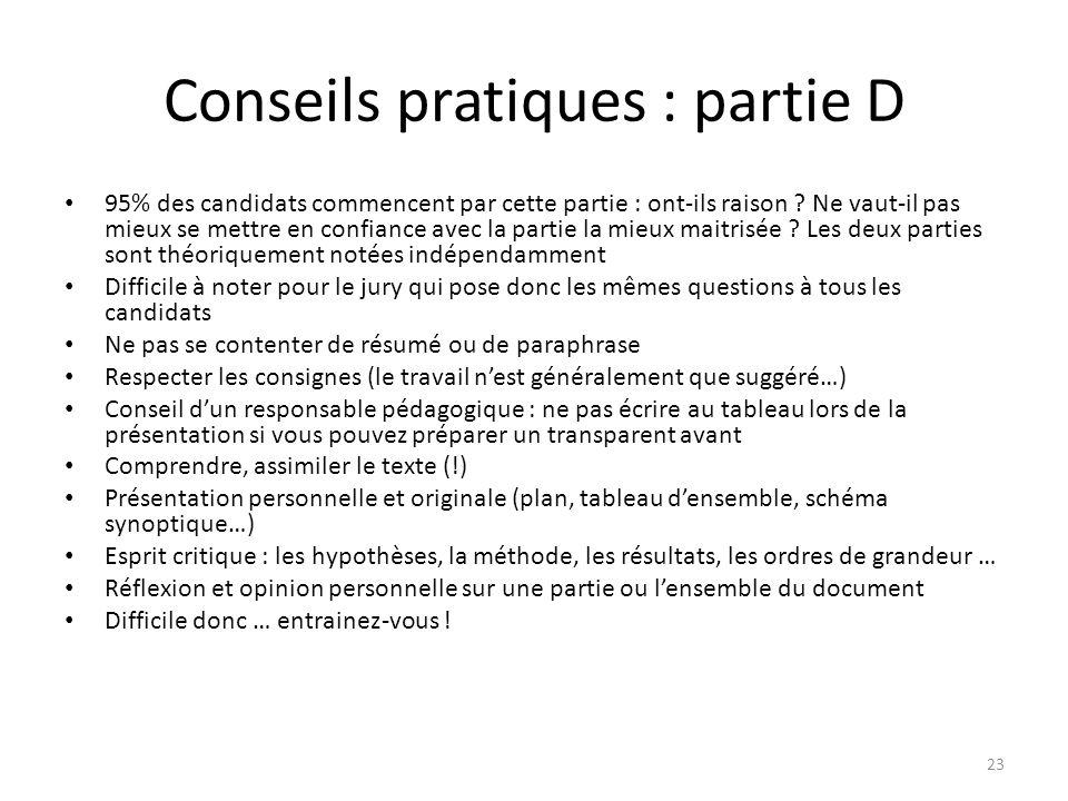 Conseils pratiques : partie D