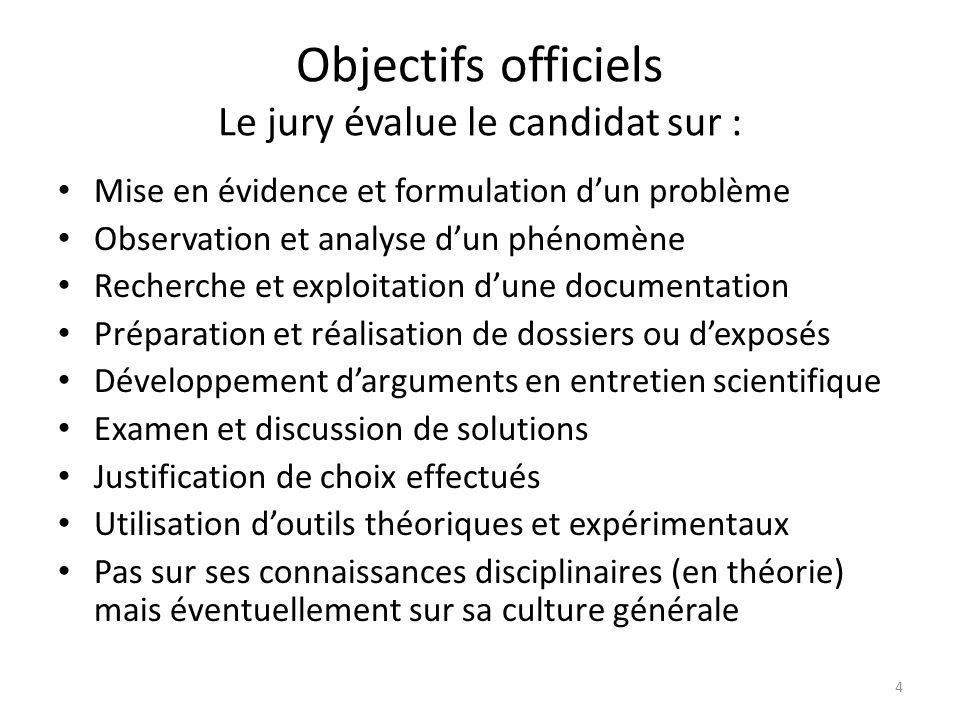 Objectifs officiels Le jury évalue le candidat sur :