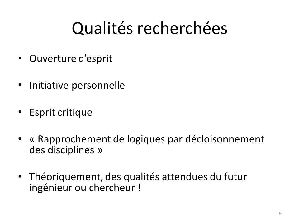 Qualités recherchées Ouverture d'esprit Initiative personnelle