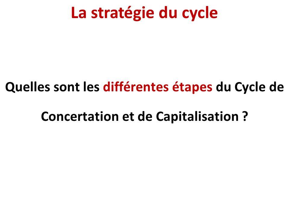 La stratégie du cycle Quelles sont les différentes étapes du Cycle de Concertation et de Capitalisation