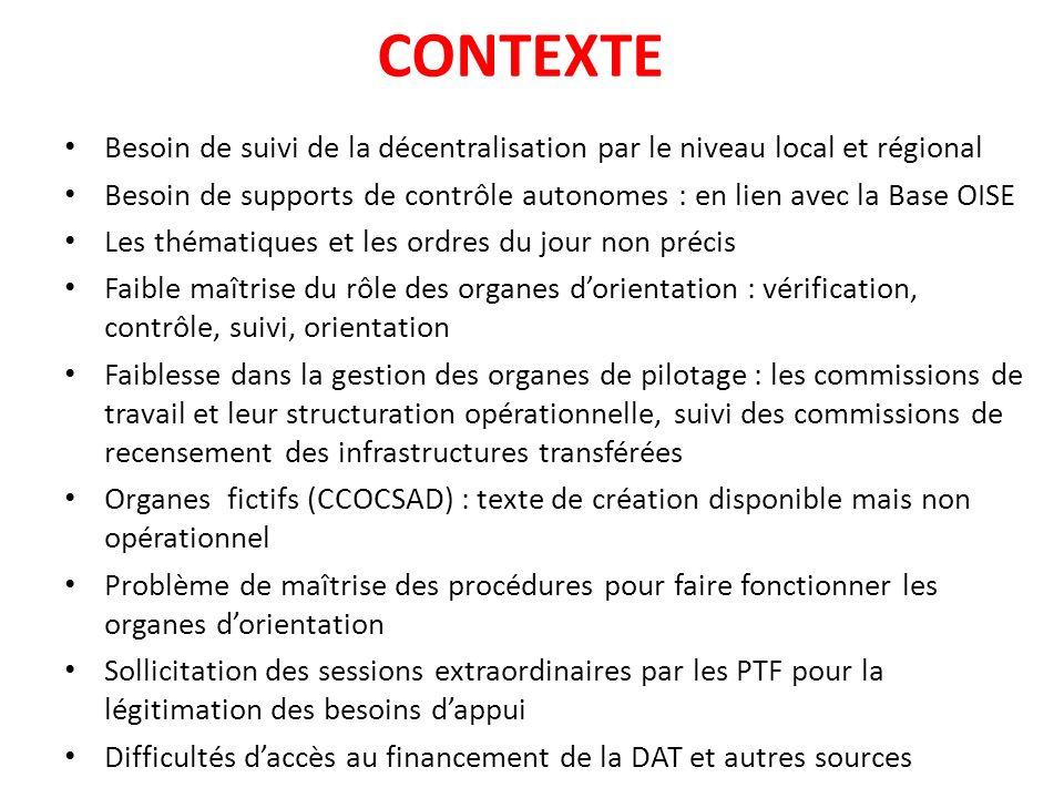 CONTEXTE Besoin de suivi de la décentralisation par le niveau local et régional.