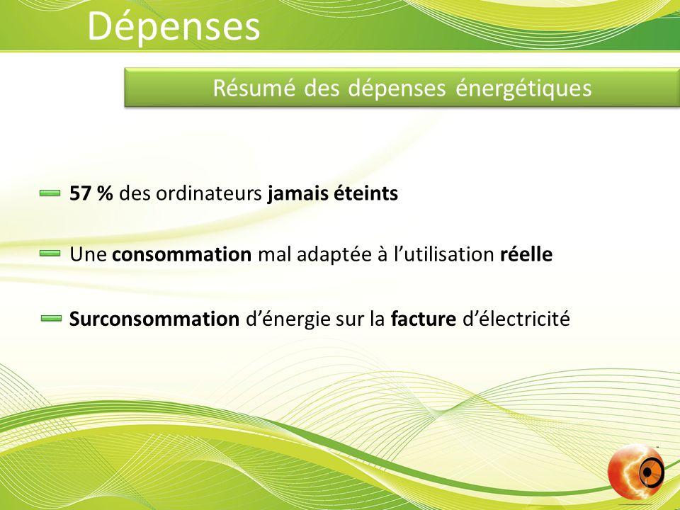 Résumé des dépenses énergétiques