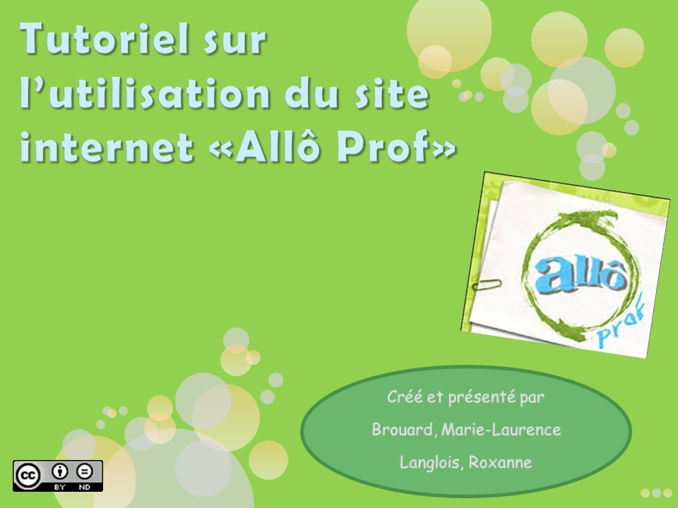Tutoriel sur l'utilisation du site internet «Allô Prof»