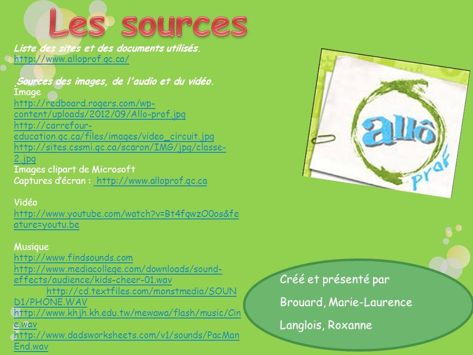 Les sources · Créé et présenté par Brouard, Marie-Laurence