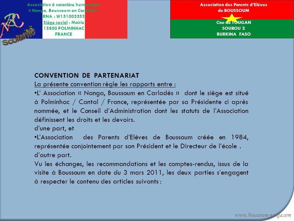 Scolarité B CONVENTION DE PARTENARIAT