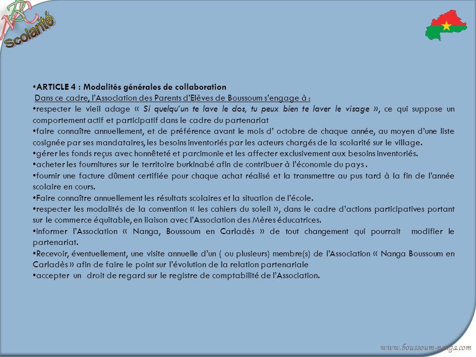 Scolarité B C N ARTICLE 4 : Modalités générales de collaboration