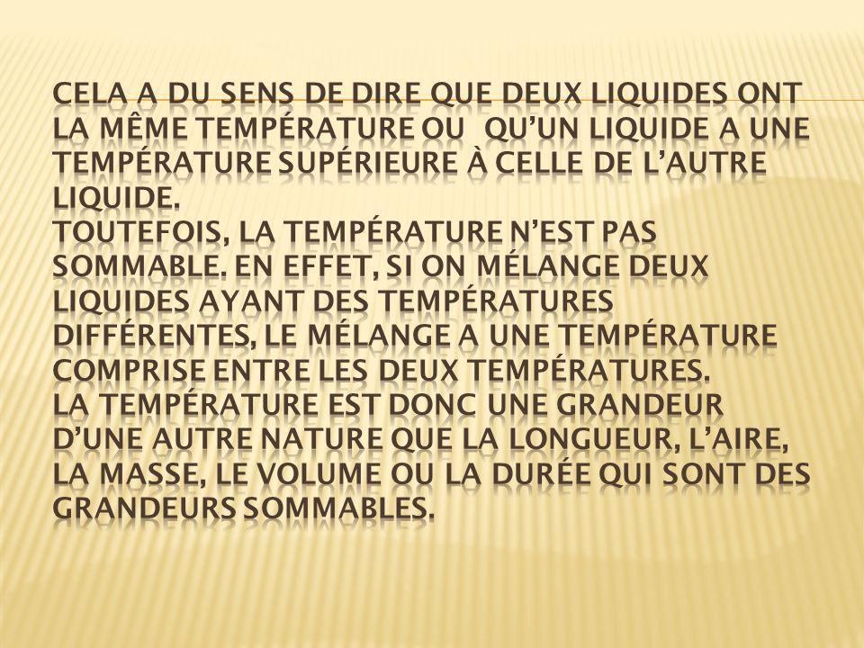 Cela a du sens de dire que deux liquides ont la même température ou qu'un liquide a une température supérieure à celle de l'autre liquide.