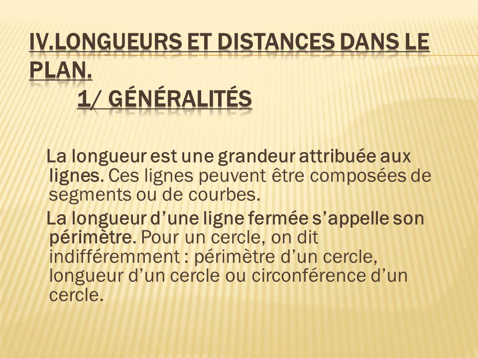 IV.Longueurs et distances dans le plan. 1/ Généralités