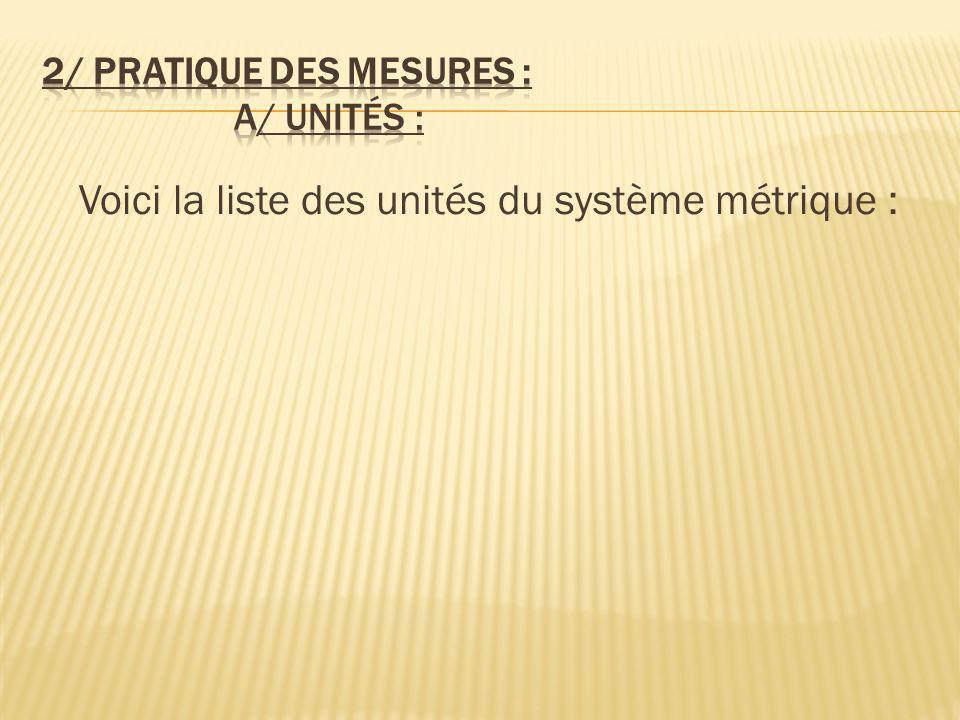2/ Pratique des mesures : a/ Unités :