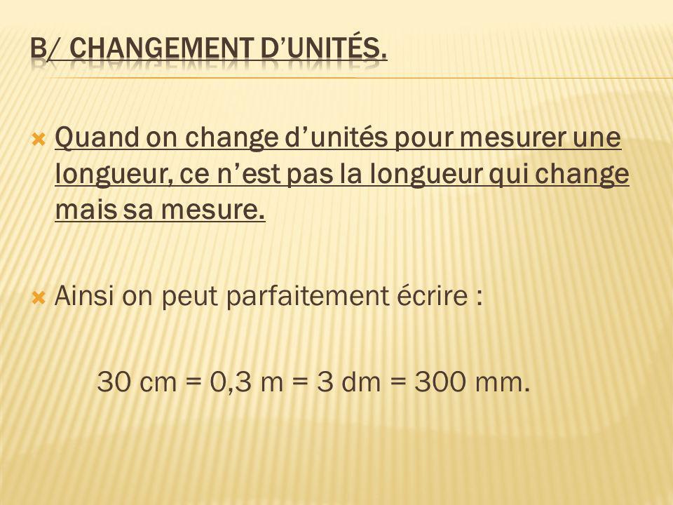 b/ Changement d'unités.