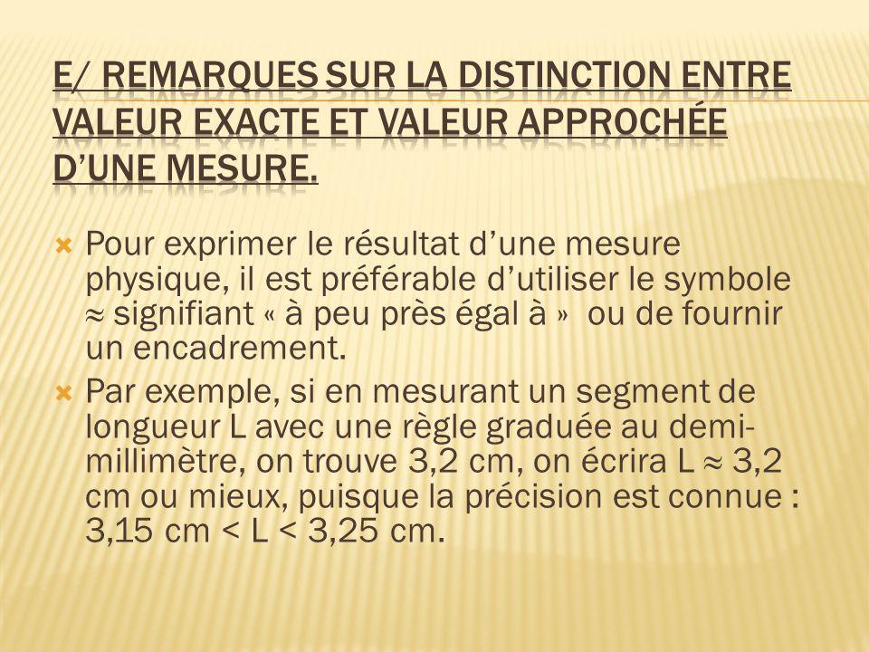 e/ Remarques sur la distinction entre valeur exacte et valeur approchée d'une mesure.