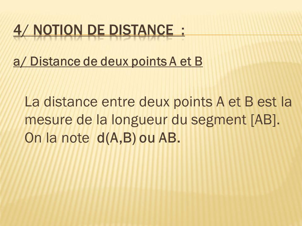 4/ Notion de distance : a/ Distance de deux points A et B.