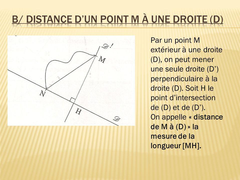 b/ Distance d'un point M à une droite (D)