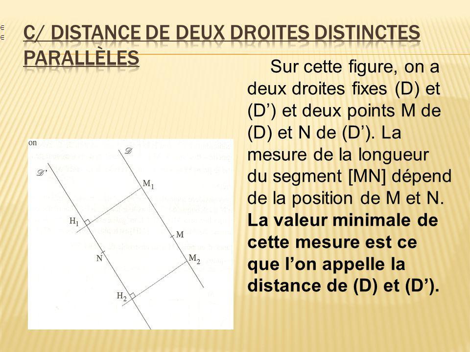 c/ Distance de deux droites distinctes parallèles